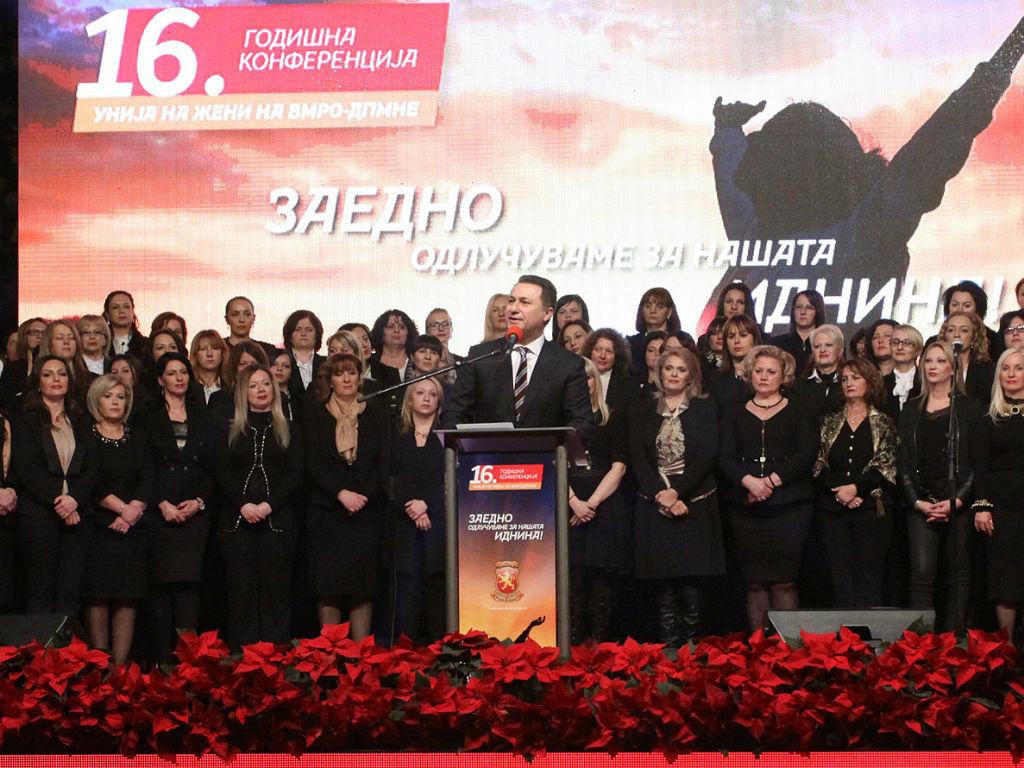 Груевски, на 16-годишнината од постоењето на Унијата на жени на ВМРО-ДПМНЕ упати остри пораки со речник кој, според реакциите што ги предизвика, не му доликува ниту на претседател на месна заедница   Фото: МИА