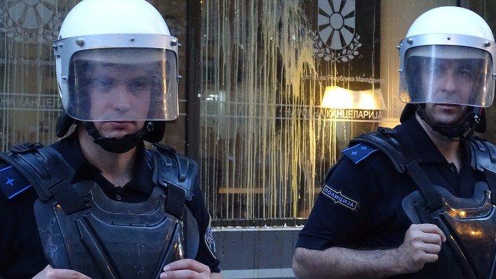 Од вчерашните протести пред Народната канцеларија на Иванов   Фото: БИРН