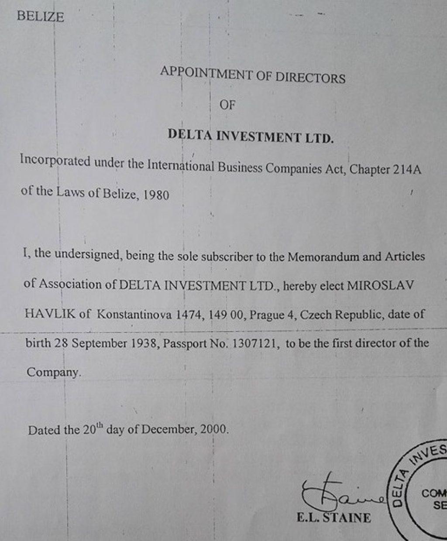 """Чешкиот државјанин Мирослав Хавлик станува првиот директор на Delta Investment, сопственикот на """"Ексико"""" од Белизе"""