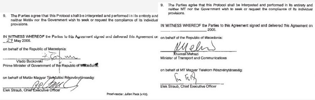 Потписот на Елек Штрауб на првиот и на вториот документ именуван како Протокол за соработка е различен