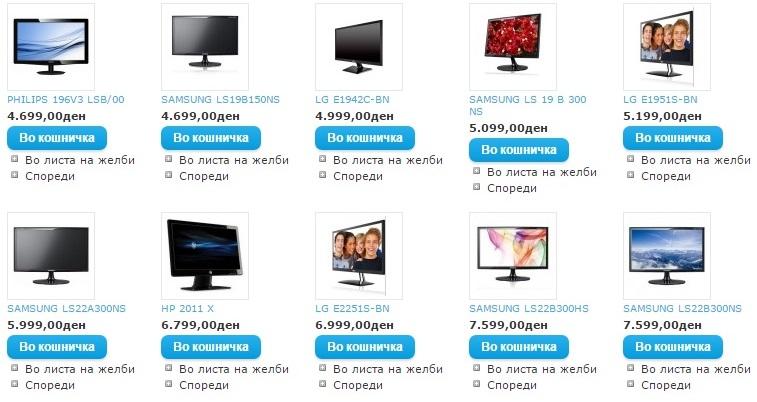 Цени на монитори во 2012 година
