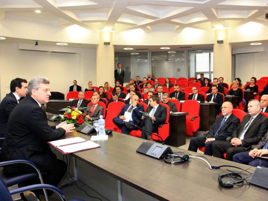 Претседателот Иванов и министерот Поповски на средба со претставниците на македонските дипломатски и конзуларни претставништва / Фото: МНР