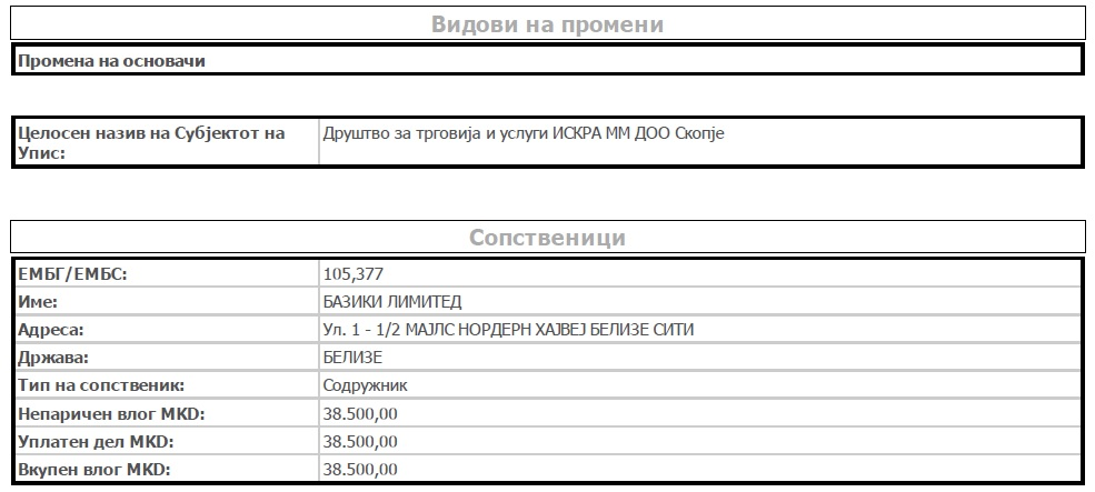 """Адресата на сопственикот на """"Искра ММ"""", сегашна """"Комплекс Александрија"""" во извесен период се криеше на Белизе, на истата адреса со """"Република"""""""