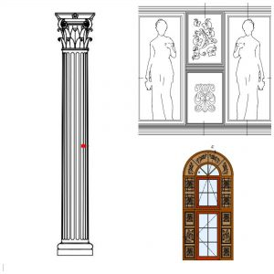 Детали од фасадата на националниот ресторан во паркот