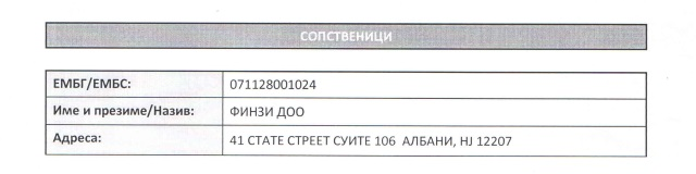 Извадок од документ од Централниот регистер за адресата на фирмата Финзи
