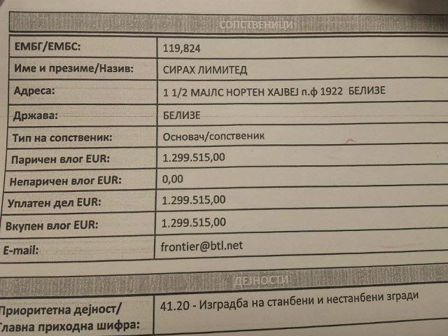 """Во даночниот рај Белизе се наоѓа сопственикот на македонската """"Сирах"""""""