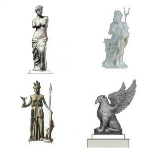 Реплика на Милоската Венера и грифон меѓу статуите во идната Рајска градина