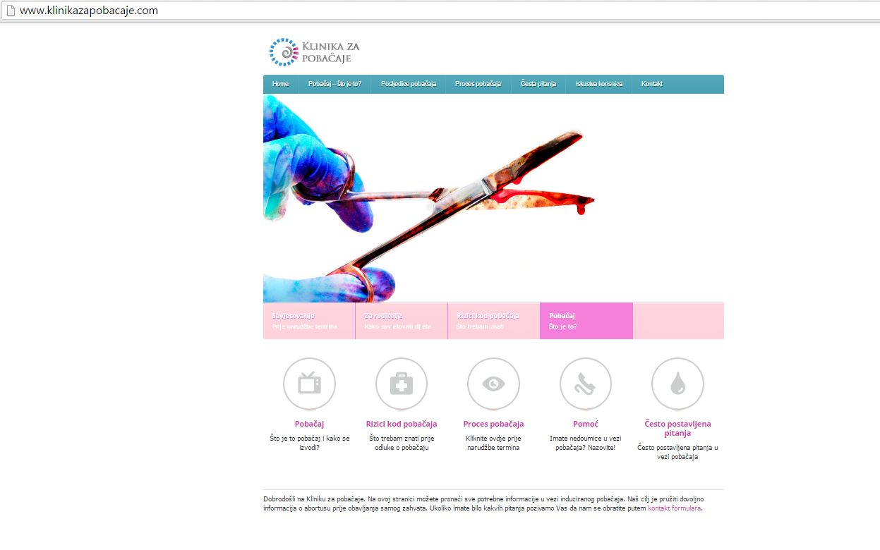 Извадок од веб-сајтот на Клиниката за абортус. Фото: Масењка Бачиќ